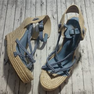 NWOT 7 For All Mankind Blue Suede Espadrille Wedge